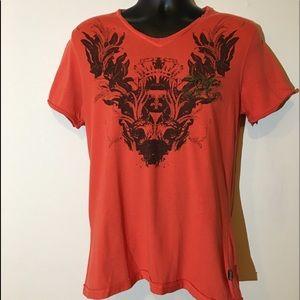 Roberto Cavalli Orange V Neck Tee Shirt